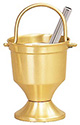 Holy Water Pot & Sprinkler-Satin Brass