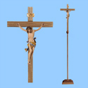 Processional Wood Carved Crucifix